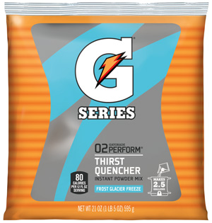 Gatorade Powder Glacier Freeze 2.5 Gallon Instant Powder Mix - 21 oz. Instant Gatorade Mix Pack