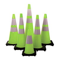 Fluorescent Reflective Green Cones with Black Base