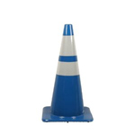 "Blue PVC 28"" Traffic Cone w/ 6"" up 4"" low collars"